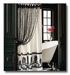Amazing Interior And Decor , Stylish Bathroom Shower Curtains : Black And White  Bathroom Shower Curtains In Black Bathroom With White Clawfoot Tub