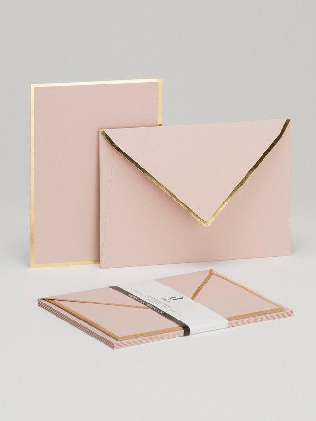 LISERE Rose poudré - Lot de 5 cartes et enveloppes de correspondance - Atelier 225