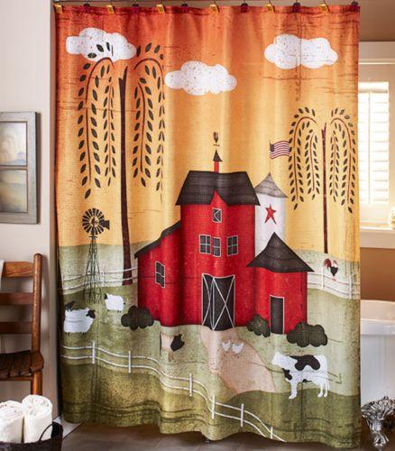 Rustic-Primitive-Shower-Curtain-Country-Barn-Bathroom-Decor-Idea-Pig-Cow-Chicken