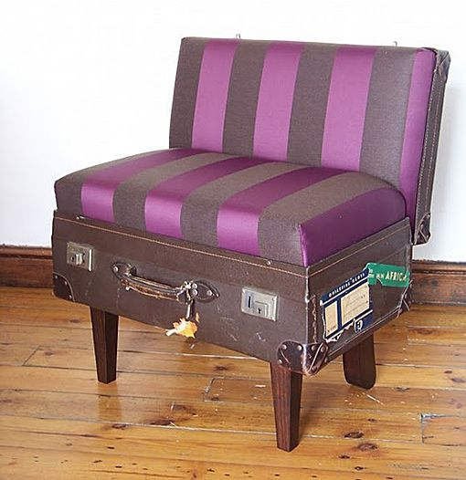 vintage suitcase chair // Quirky Uses for Vintage Suitcases... Not my favorite color, but clever nonetheless.