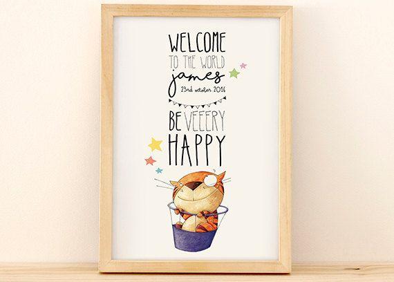Personalized illustration for newborn baby's room - newborn cat model de NoninaShop en Etsy