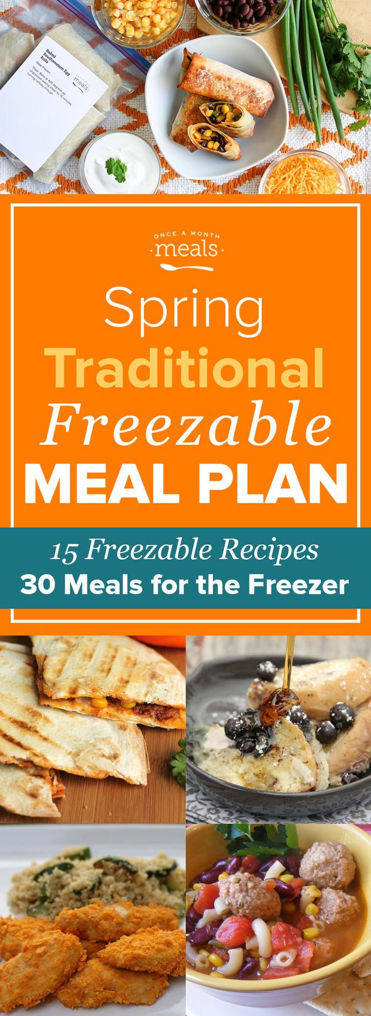 This Spring Traditional Freezer Menu features family-style meals like Chicken Marsala, Meatball Minestrone, and Chocolate Chip Banana Breakfast Cookies.