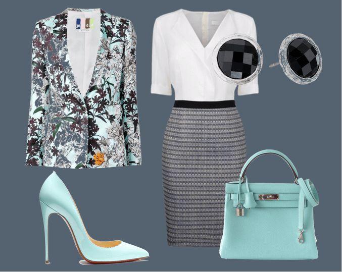 Пиджак с цветочным принтом, бело-серое платье, черные серьги, туфли и сумочка мятного цвета