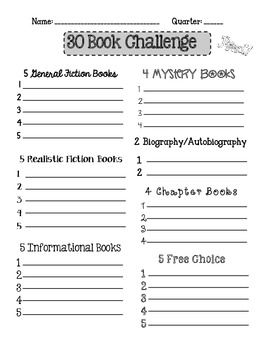 Book Challenge Reading Logs {Freebie!}...this is great to get students to read different reading materials. Could have incentive when goal is met...could also attach questions to assess if students are comprehending
