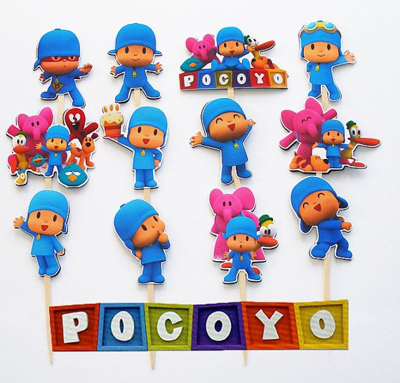 12 Pocoyo Birthday Party Cupcake Cake Toppers by KidsLoveEm, $8.50
