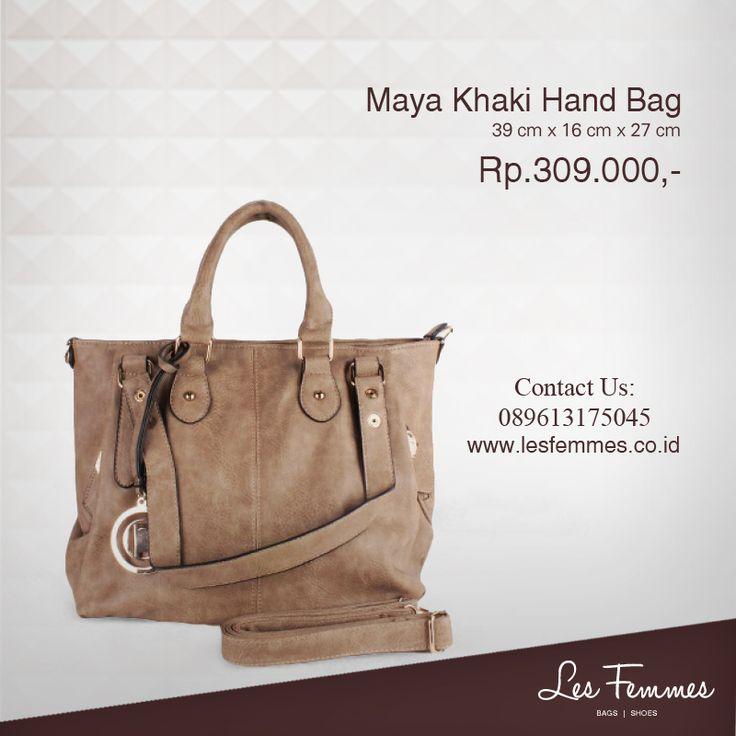 Maya Khaki Hand Bag 309,000 IDR #Fashion #Woman #bag shop now on http://www.lesfemmes.co.id/hand-bags/maya-khaki-hand-bag