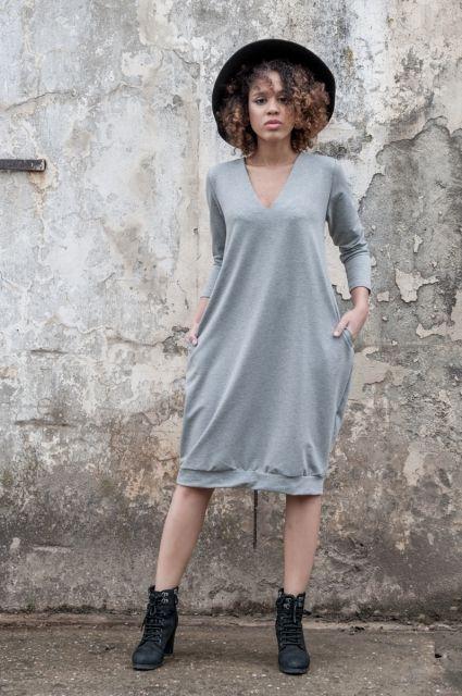 Sukienka Ethno On My Back Grey  | www.kokoworld.pl #kokoworld #greydress #ethno #africa #handmade