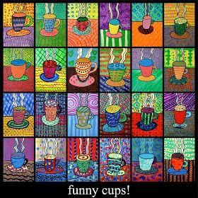 Mokken. Ieder kind tekent een mok met damp uit de mok op een tafel. Daarna zoveel mogelijk patronen telenen en met verschillende kleuren inkleuren.