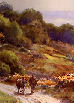 Watercolour painting of Burley Moor by Ernest W Haslehust - Smuggling in the New Forest http://www.smuggling.co.uk/gazetteer_s_13.html