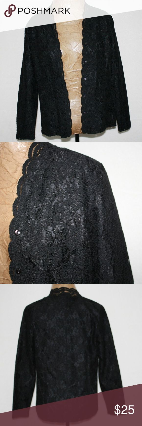 """Karen Scott Black Lace Jacket Blazer Striking black lace jacket, Has a very tailored look to it. Is a """"substantial"""" lace look, not a soft lace. Looks like it means business type of lace, if you know what I mean. Scalloped edge around all the jacket and the sleeves. Slim shoulder pads. Bust is 38 inches and sleeves are 24 inches long. 65% Nylon and 35% Rayon. (0930) Karen Scott Jackets & Coats Blazers"""