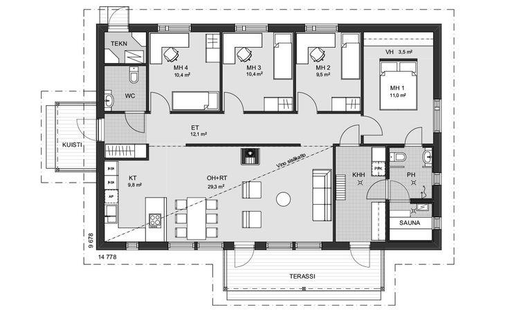 Yksikerroksinen koti, jossa riittää tilaa elämälle. Kaikki neljä makuuhuonetta on sijoitettu talon toiselle reunalle eteisen käytävän varrelle. Wc on sijoitettu käytävän molempiin päihin. Isoimmassa makuuhuoneessa on oma tilava avomallinen vaatehuone ja oma ovi pesutiloihin. Vino sisäkatto lisää avaruuden tuntua olohuoneessa sekä keittiössä ja takka luo kodikkuutta. Terassille pääsee sekä olohuoneesta että kätevästi suoraan kodinhoitohuoneesta.