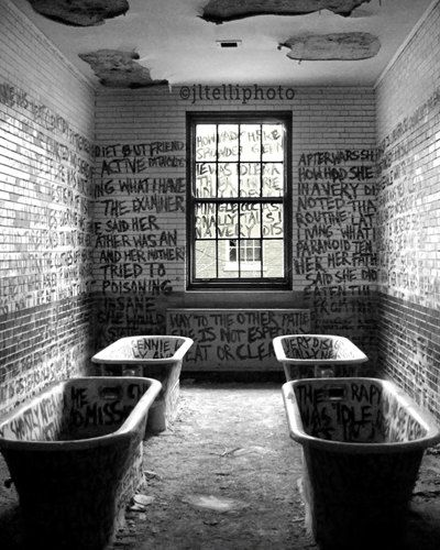 Manteno State Hospital opened in 1930, and its population peaked in 1954 with just over 8,000 patients. Abandoned since closing in 1985. The writing in this room relays the story of Genevieve Pilarski, whose name's written in the tub on the upper left. She was a former patient who underwent everything from hydrotherapy and a lobotomy, to placement in an experimental research ward.