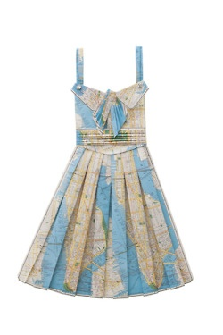 Handmade paper dresses made from recycled vintage maps