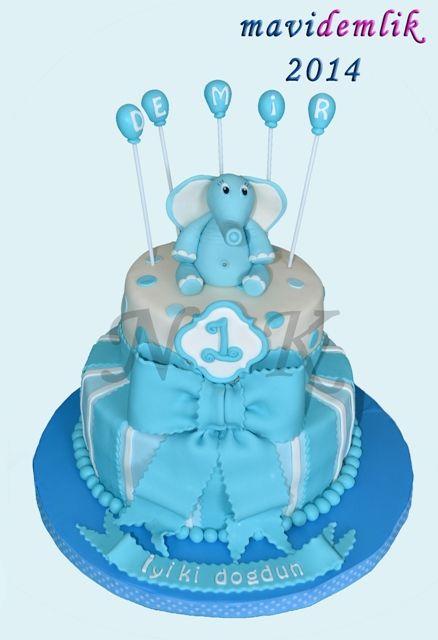 mavi demlik mutfağı- izmir butik pasta kurabiye cupcake tasarım- şeker hamurlu-kur: DEMİR'İN 1 YAŞ FİLLİ PASTASI VE 1 YAŞ KURABİYELERİ...
