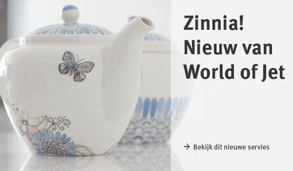 Het nieuwe #servies van World of Jet: #Zinnia! Met prachtige blauw-witte bloemillustraties.