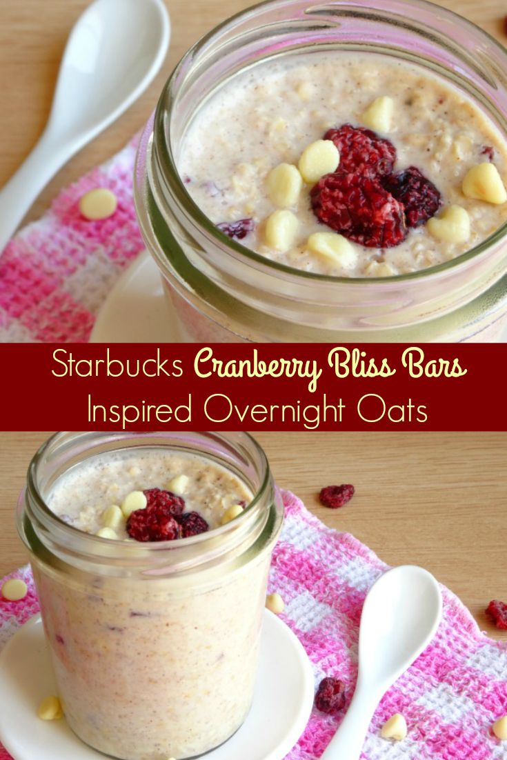 Ingredients: 1/2 cup oats, 1 tablespoon brown sugar, 1/2 teaspoon ground cinnamon,  1 tablespoon white chocolate chips, 1 tablespoon chopped up dried cranberries, 1/3 cup yogurt, 1/4 cup milk    Place all the ingredients together in a small bowl and mix to combine. Pour the mixture into a small lidded jar and store in the fridge for at least 4 hours before serving, to give the oats time to soften up.