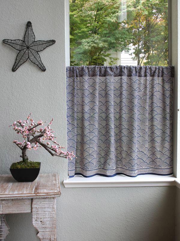 Oriental Kitchen Curtain, Navy Blue Kitchen Tier Curtains, Rustic Kitchen  Cafe Curtains, Kitchen