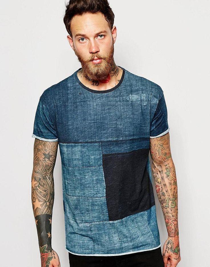 Nudie Jeans | Nudie T-Shirt Raw Hem Organic Boro Constrast Denim Print at ASOS