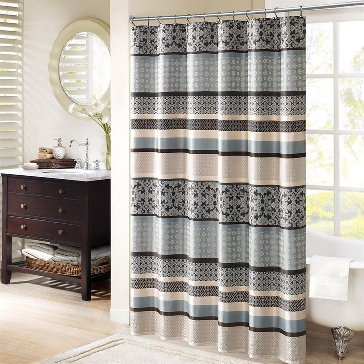 Blue and brown curtains cheap sale striped shower