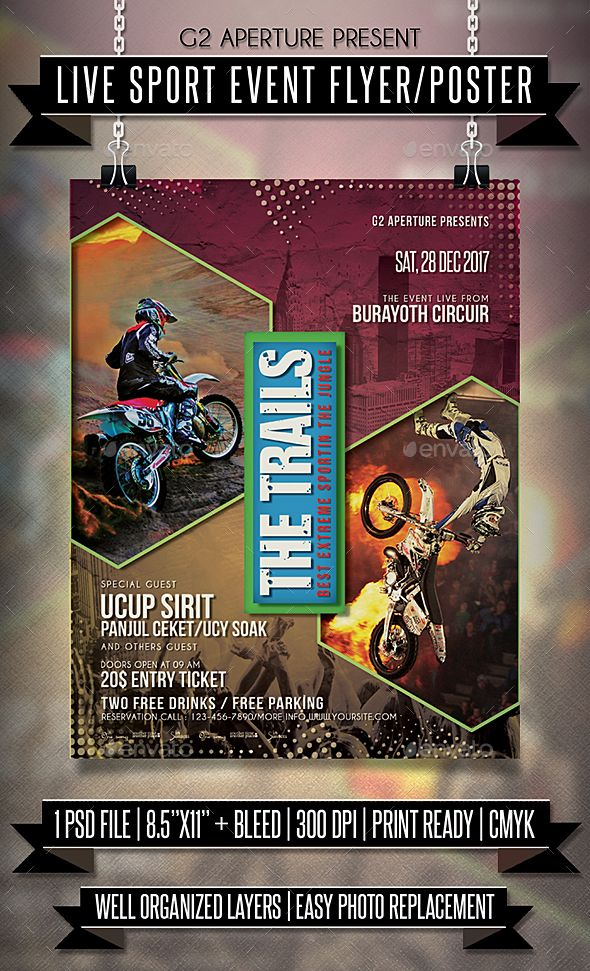 Live Sport Event Flyer / Poster Template PSD