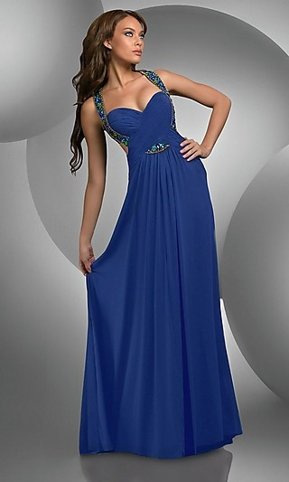 A-Line Sweetheart Royal Blue Chiffon   Evening Gown