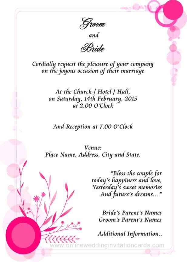 Best 25 Wedding invitation wording examples ideas – Reception Party Invitations