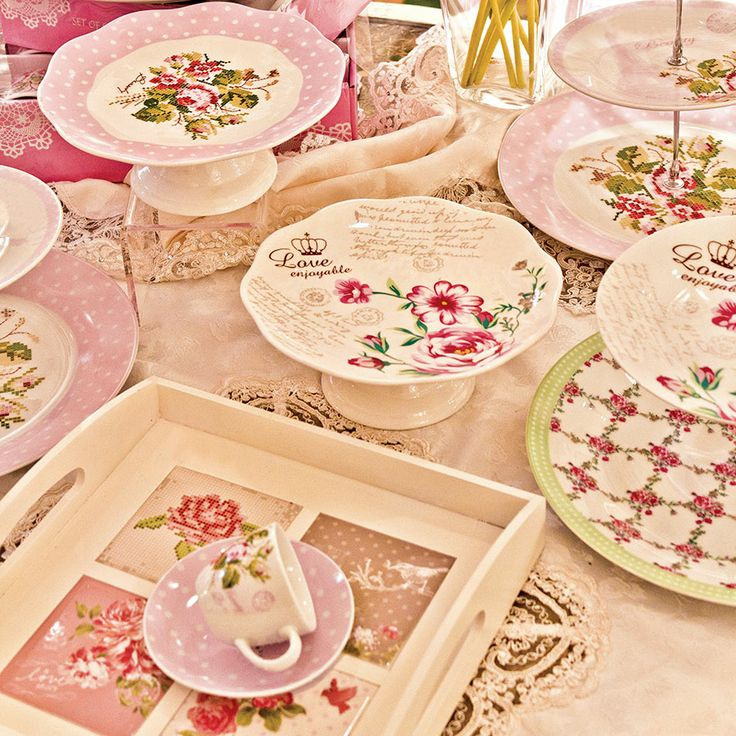 Would you like a cup of tea? #floral #pink #romantic kitchenware www.inart.com