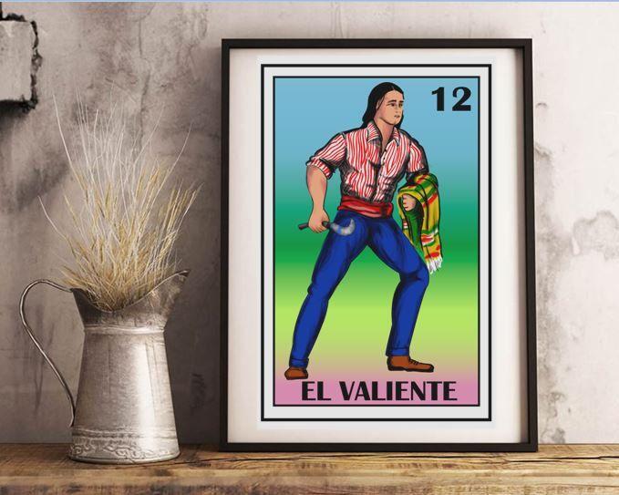 Mexican loteria, El valiente loteria, Mexican The Brave man Loteria, Mexican bridal shower,  Mexican Loteria Wall Art, Mexican Bingo Art by MXArtsCrafts on Etsy