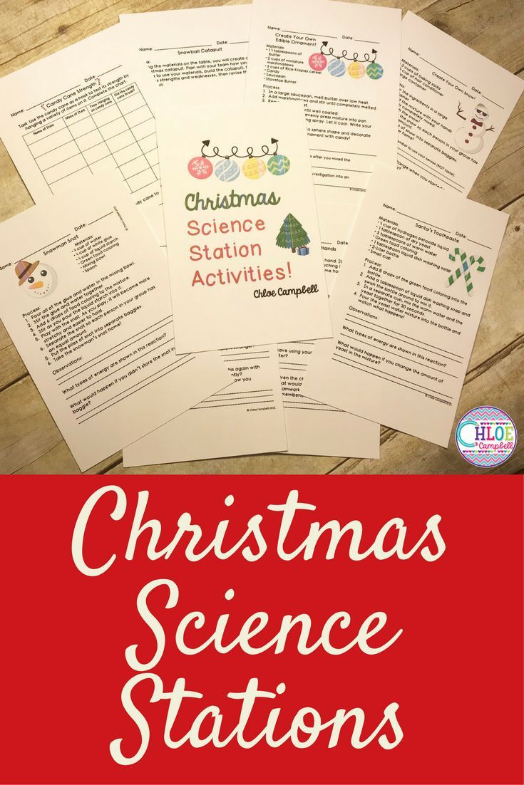 Christmas science experiments for kids. Use these winter activities to add some fun to your science lesson plans!  Candy canes, snow, ornaments, Christmas trees, and other fun science station ideas!