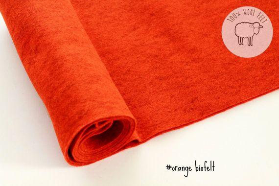 Wool felt roll orange color wool felt roll felt by by CraftyKooka