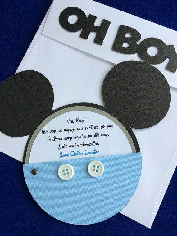 mickey mouse baby shower invitation with real buttons set of 10 blue mickey mouse