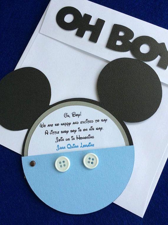 Invitación de ducha Baby Mickey Mouse con botones reales
