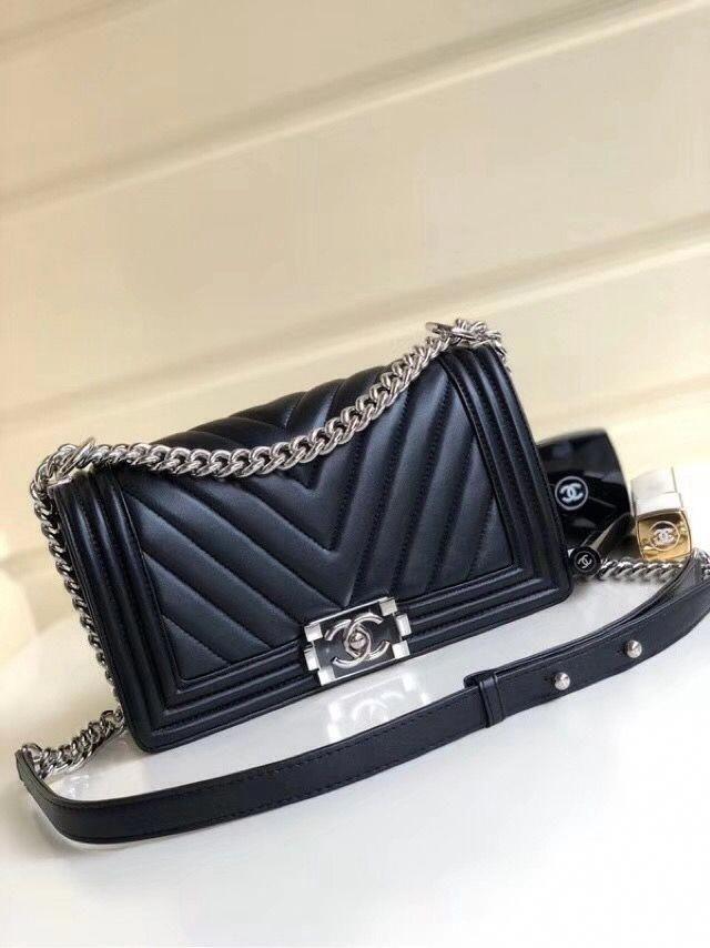 659be3e7d463b6 Chanel Metallic Lambskin Medium BOY CHANEL Handbag with Resin & Silver-tone  Metal A67086 Black 2018 #Chanelhandbags
