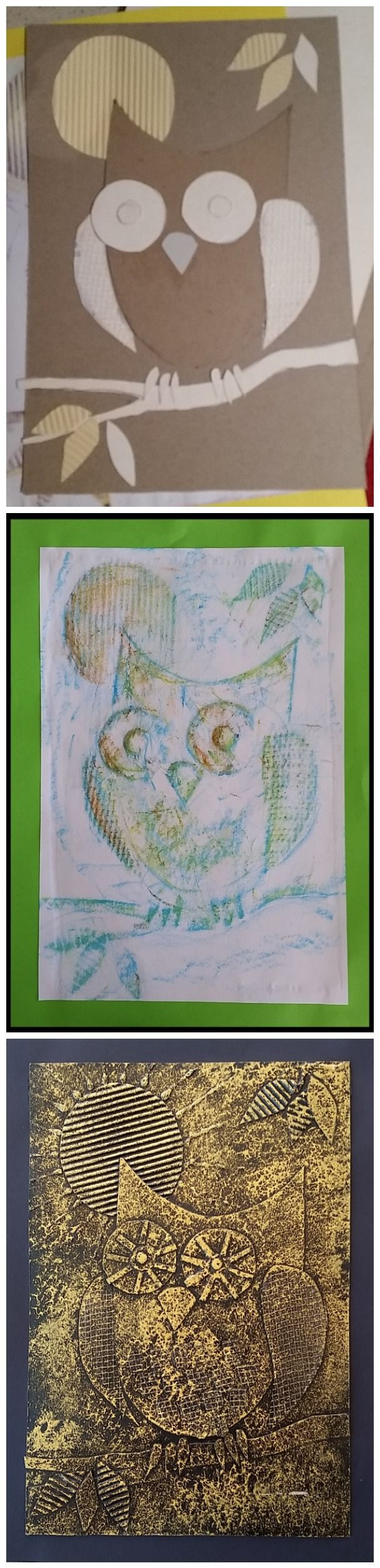 August 2014: Low-relief owls, oil pastel rubbings and faux-embossed metal finish.