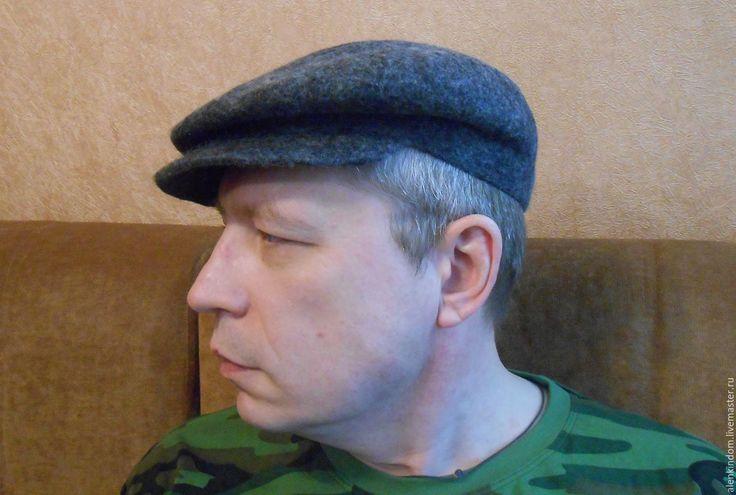 Купить Кепка валяная. - темно-серый, однотонный, кепка мужская, кепка валяная, кепка шерстяная