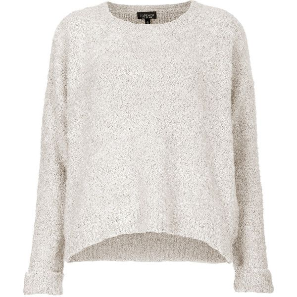 TOPSHOP Boucle Sweater (215 ZAR) ❤ liked on Polyvore featuring tops, sweaters, jumpers, haut, shirts, white, slouchy sweater, white jumper, white sweater and white slouchy sweater