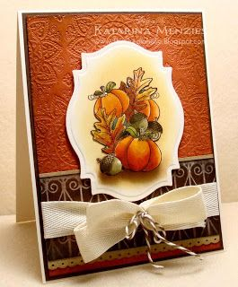 handmade card ... Watermelon Sugar: Autumn Bounty ... Spellbinder's label with pumpkin image delightfully colored ... like the detail of baker's twine tied around the bow ... great card!!