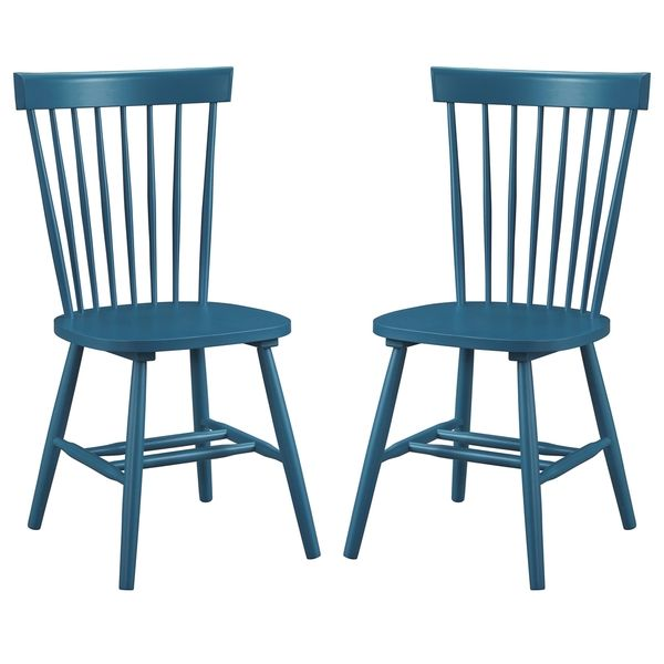 $217/pair. Dunner Danish Design Spindle Back Blue/Teal Dining Chairs (Set of 2)