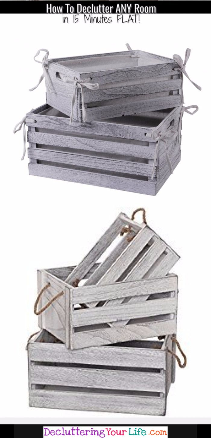 Farmhouse baskets and bins - pertty way to declutter and organize in farmhouse style