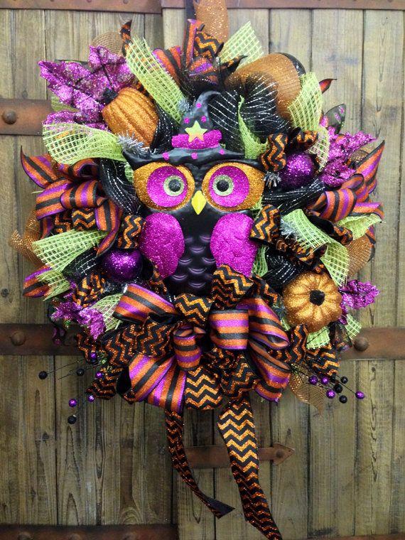 Halloween Owl Mesh Wreath with glitter pumpkins on Etsy, $105.00