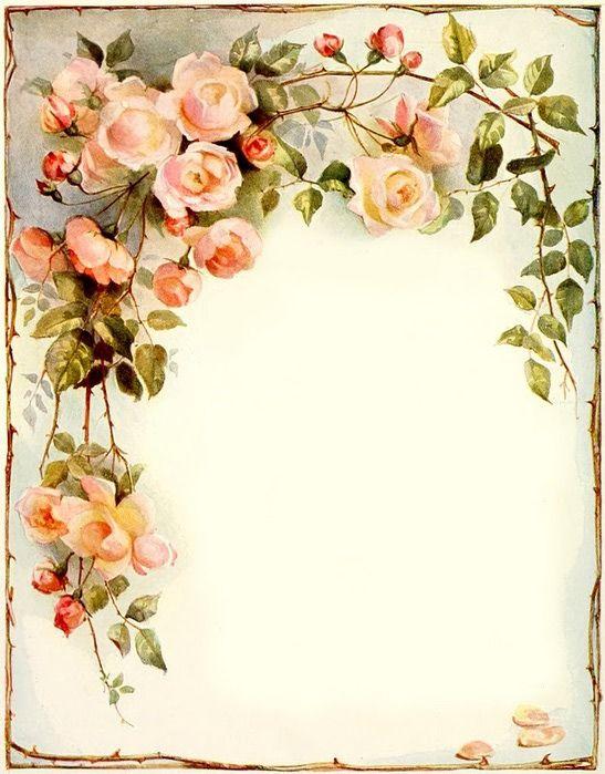 Flower Border, Vintage Flower, Paper, Vintage Roses, Letter, Decoupage ...