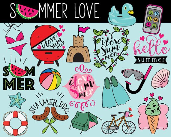 Hello Summer Clipart vector summer clip art summer doodle