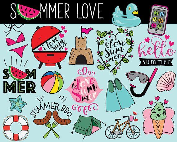 Hello Summer Clipart vector summer clip art summer doodle