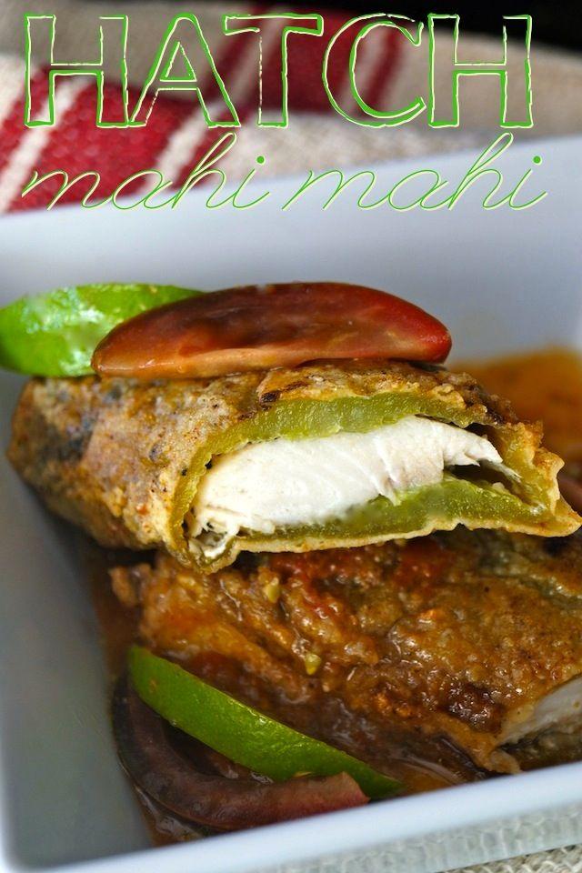 Hatch Chiles with Tomato Lime Sauce: Mahi Mahi Stuffed Roasted Hatch ...
