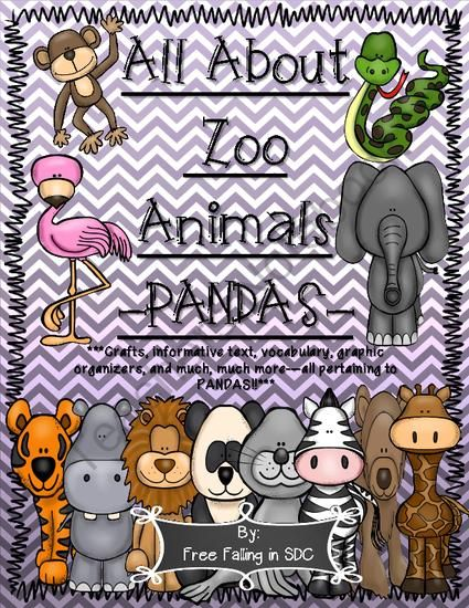 All About Zoo Animals-PANDAS! (crafts, informative text, vocab, & much more!) from h2ogoaliegirl from h2ogoaliegirl on TeachersNotebook.com (28 pages)  - Super cute addition to any unit pertaining to pandas, mammals, bears, wild, or zoo animals. Crafts, informative text, writing activities, vocab, and much more all pertaining to PANDAS!