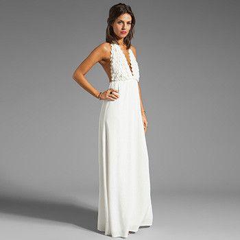 Women Beach Swim Cover Ups, Long Beach Dress, White