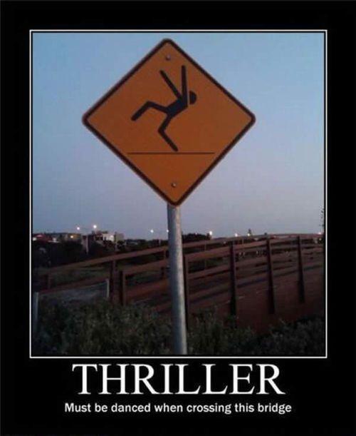 .To cross bridge, one must dance the Thriller dance.