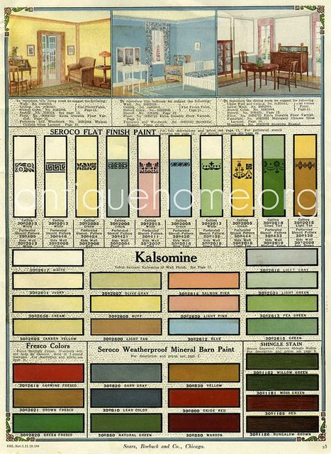 Seroco Paint - Sears and Roebuck - 1918  Historic interior color palette from 1918.