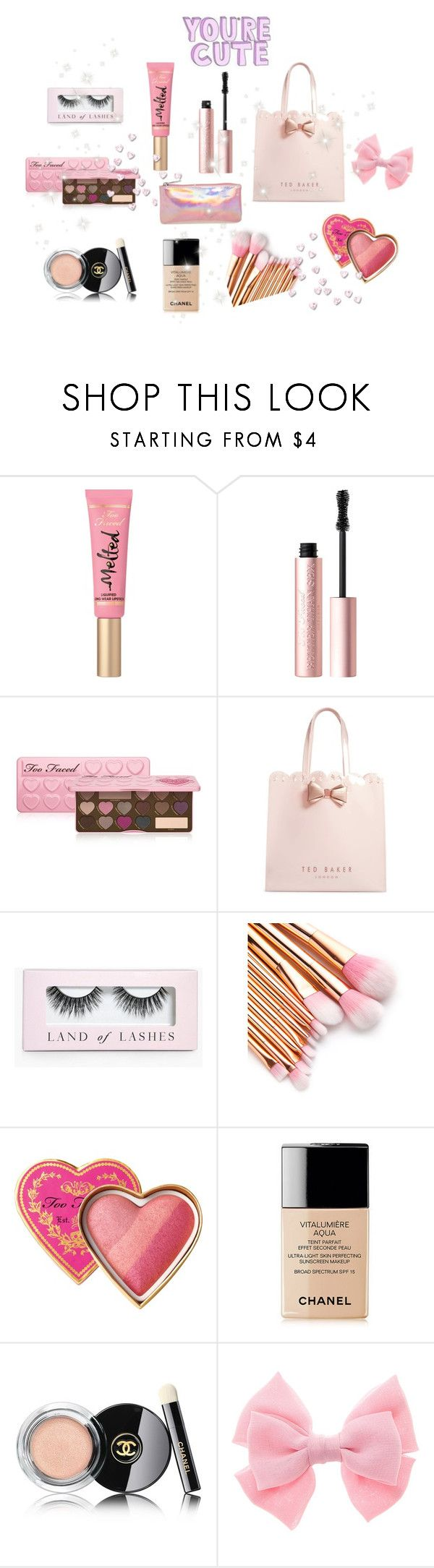 """""""♡ What's in my Makeup bag ♡"""" by girlymoonlightbae ❤ liked on Polyvore featuring beauty, Too Faced Cosmetics, Ted Baker, Boohoo, Chanel and Bari Lynn"""