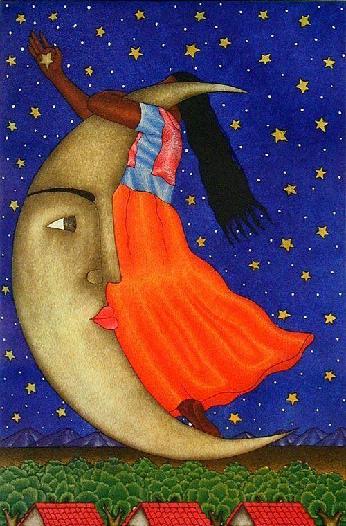 Untitled La Luna Fernando Olivera Oaxaca Mexico Aquatint 19 14 x 12 34 2005 Mexican Artists, Mexican Folk Art, Latino Artists, Art Beauté, Mexico Art, Naive Art, Moon Art, Sun Moon, New Art